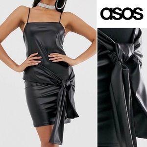 ASOS Design NWT faux leather mini dress sash 6